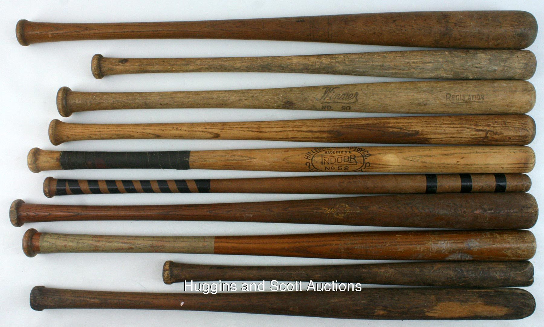 Vintage Baseball Equipment Lot With 10 Bats And 2 Gloves